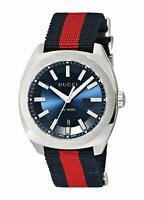 Gucci GG2570 41 Blue Dial Blue/Red Nylon Strap Men's Watch YA142304