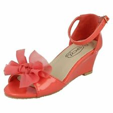 KIDS GIRLS CHILDRENS CORAL PATENT WEDGE SANDALS SUMMER HOLIDAY SHOES SIZES 9-2