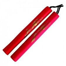 New RED Foam Nunchaku Nunchuck with Nylon Cord Kid's Foam Nunchuck-RED 11""