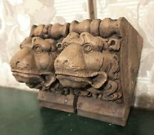 Pair 17 th lion wood carving corbel bracket Antique french architectural salvage