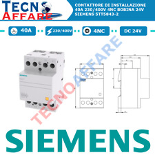 Contattore di Installazione 40A 230/400V 4NC Bobina 24V Siemens 5TT5843-2