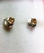 3.75 mm pale orange sapphire gemstone stud earrings in Sterling Silver