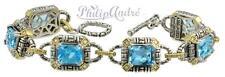 Philip Andre 14K Gold & Sterling  Silver Diamond and Blue Topaz Bracelet