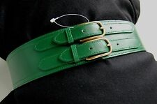 NEW - J. CREW (USA) EMERALD GREEN Double Buckle WIDE CORSET ITALIAN LEATHER Belt