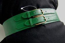 NEW - J. CREW (USA) EMERALD GREEN Double Buckle WIDE CORSET ITALIAN LEATHER Belt