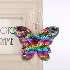 Fashion Sequins Butterfly Pendant Dangle Keyring Key Ring Chain Handbag Decor