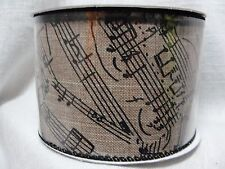 MUSIC NOTE WIRE EDGED CRAFT RIBBON 2.5IN X 25 FT FABRIC MUSIC RIBBON