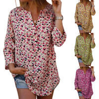 Women Boho Floral V-Neck T-Shirt Blouse Casual Loose Shirts Long Tops Plus Size