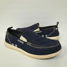 Crocs Walu Slip On Loafers Mens Shoes Size 9 Navy Blue White 11270 COMFORTABLE