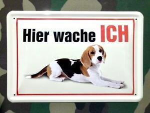 Blechschild Hier Wache ICH Wachhund Hund Hunde Deko Schild 20x30cm NEU