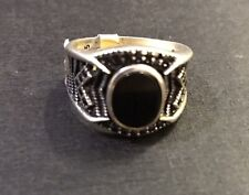 Solid 925 Sterling Silver Mens Onyx Ring UK Size W