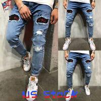 Men Ripped Biker Skinny Jeans Destroyed Trousers Casual Denim Pants Patched US