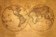 (LAMINATED) OLD WORLD MAP ANTIQUE POSTER (61x91cm) EDUCATIONAL WALL CHART PRINT