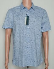 Perry Ellis Mens XXL Short Sleeve Button Front Shirt W Stretch Kentucky Blue