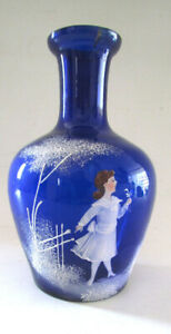 ANTIQUE VASE MARY GREGORY COBALT BLUE GLASS WHITE ENAMEL