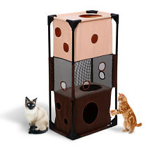 """New 35"""" Square Cat Tower Condo Play House Kitty Pet Activity Toy Bed Furniture"""