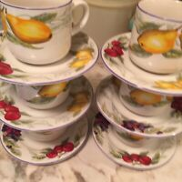 Totally Today Fruit Pattern Cups And Saucers Set Of Six