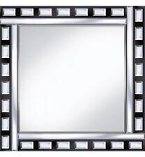 Classic Tile Mirror - Black / Silver Square Wall Mirror 60cm x 60cm Beveled