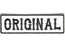 "ORIGINAL Black on White 3.5"" x 1"" iron on patch (5002) Biker Club SOA"