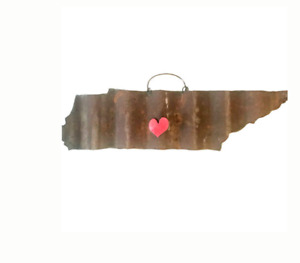 Galvanized State of Tennessee with a Red Magnet Heart