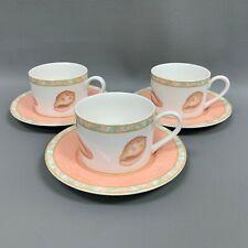 Victoria Beale Atlantis 9044 Peach Shell Starfish Flat Cups & Saucers Set of 3