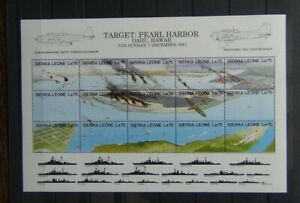 Sierra Leone 1991 50th Anniversary of Japanese Attack on Pearl Harbor Sheet LMM