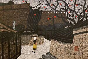 KIYOSHI SAITO Original Signed JAPANESE WOODBLOCK PRINT Persimmon Tree in Aizu