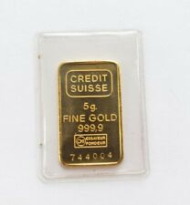 5 Gram Credit Suisse Gold Bar 999.9 Fine  with Serial Number - sealed in package
