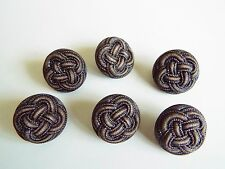 6 UNUSUAL  BROWN LEATHER LOOK COAT JACKET KNITWEAR BUTTONS 18mm
