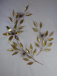 Vtg Mid Century Brutalist Floral POM Metal Wall Art Hanging Sculpture Signed