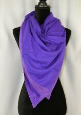 Brioni Women's Scarf Shawl Wrap Purple Italy Wool Silk Trim 56 x 55 Large Casual