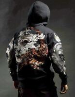 Mens Hoodie Sweatshirt Japanese Pattern Embroidery Hooded Sweater Coiled Dragon