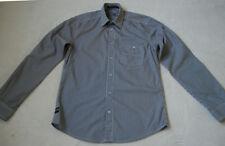 JACK & JONES Men's Casual Ground Grey White  Striped Opening Shirt Cotton size S