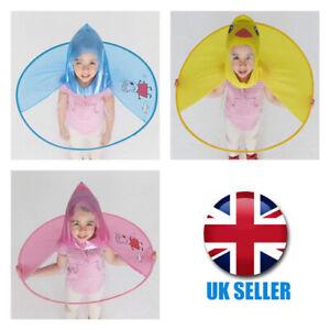 Girl Boys Cartoon Rain Coat Duck Kids Children Umbrella Hat Hooded Poncho A34