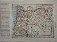 1926 MAP ~ Oregon State contee ~ principali Città e villaggi FOSSILE Helix Grant