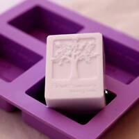 DIY 4 Cavity Rectangle Soap Mold Silicone Craft Candy Chocolate Cake Mould Tool