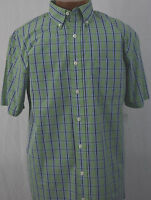 Big and Tall Sport Shirt SS IZOD LT NWT Green Plaid Mens New LargeTall