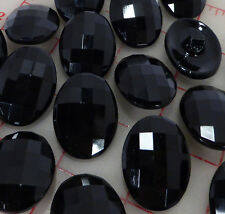 """24 large black oval faceted Czech glass shank buttons 31mm x 23mm 1.25"""" x 15/16"""""""