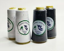4 Big Spool Polyester Sewing Thread Black & White Color  2500 Yards Each 40s/2