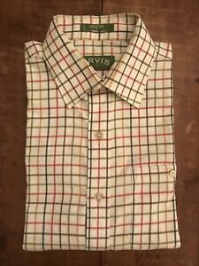 Orvis Red Yellow and Green Checked Cotton Shirt