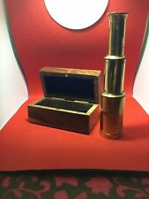 Nautical 6� Brass Telescope in Decorative Wooden Box Inlaid Anchor on Cover