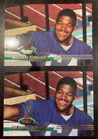 1993 Topps Stadium Club Rookie Card Michael Strahan #384 x2 New York Giants