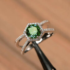 2.30 ct Fancy Round Cut Green Moissanite 925 Sterling Silver Engagement Ring