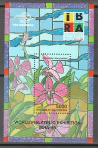 INDONESIA 1999 IBRA INT'L STAMP EXHIBITION ORCHID FLOWERS SOUVENIR SHEET 1 STAMP