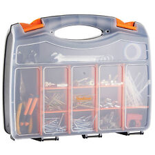 "VonHaus 15"" 38cm 2 Sided Tool Box Bits Storage Organiser 32 Compartments Case"