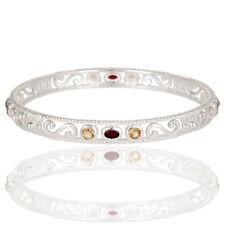 Citrine And Garnet Gemstone Bangle Bracelet 925 Silver Handmade Jewelry
