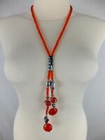 Halskette mit Muranoglas neu mit Etikett Modeschmuck orange rot silberfarben