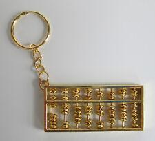 Chinese Charm Feng Shui Mascot Decoration Abacus Key Ring Keychain Gold Tone