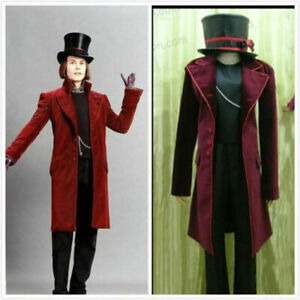 Charlie and the Chocolate Factory Willy Wonka cosplay costume/Free shipping