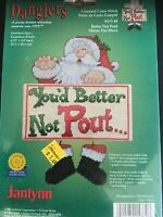 """Janlynn *Danglers NEW Santa """"You'd Better Not Pout"""" Counted Cross Stitch 157-89"""